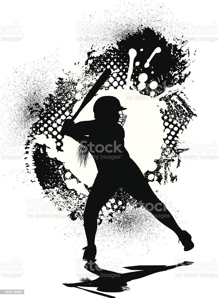 Girls Softball Allstar Grunge Graphic Batter Stock Vector