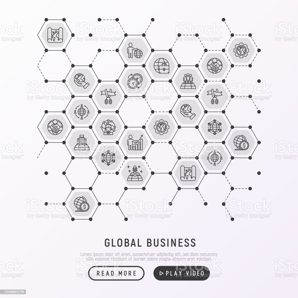 Global Business Concept In Honeycombs With Thin Line Icons