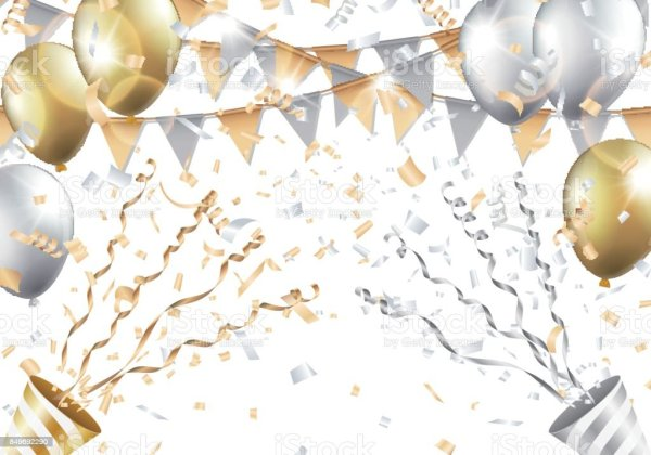 gold and silver balloons confetti