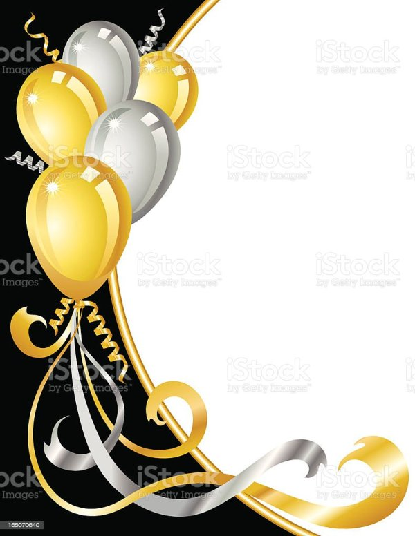 gold and silver balloons stock