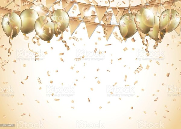 gold balloons confetti and streamers