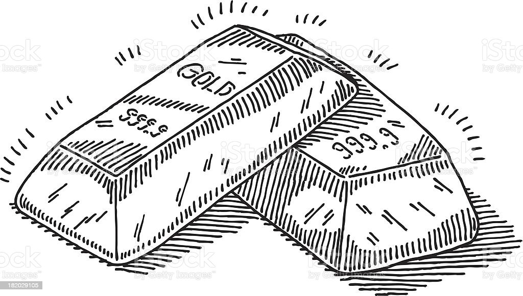 gold bars drawing stock vector