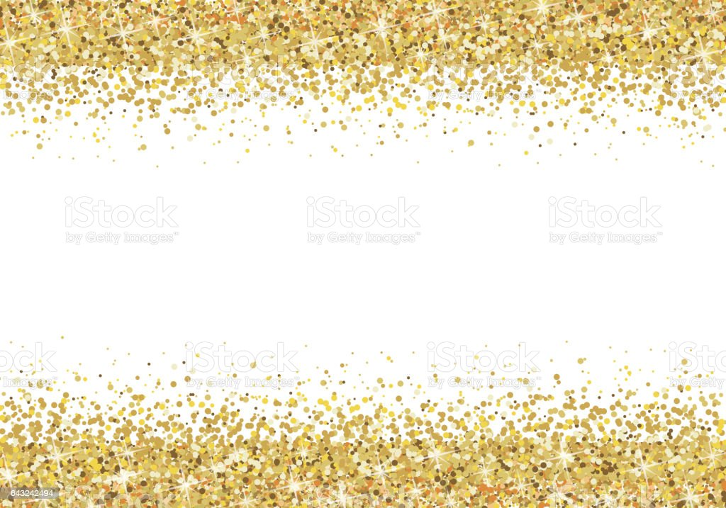 Gold Glitter Frame On White Background Stock Vector Art