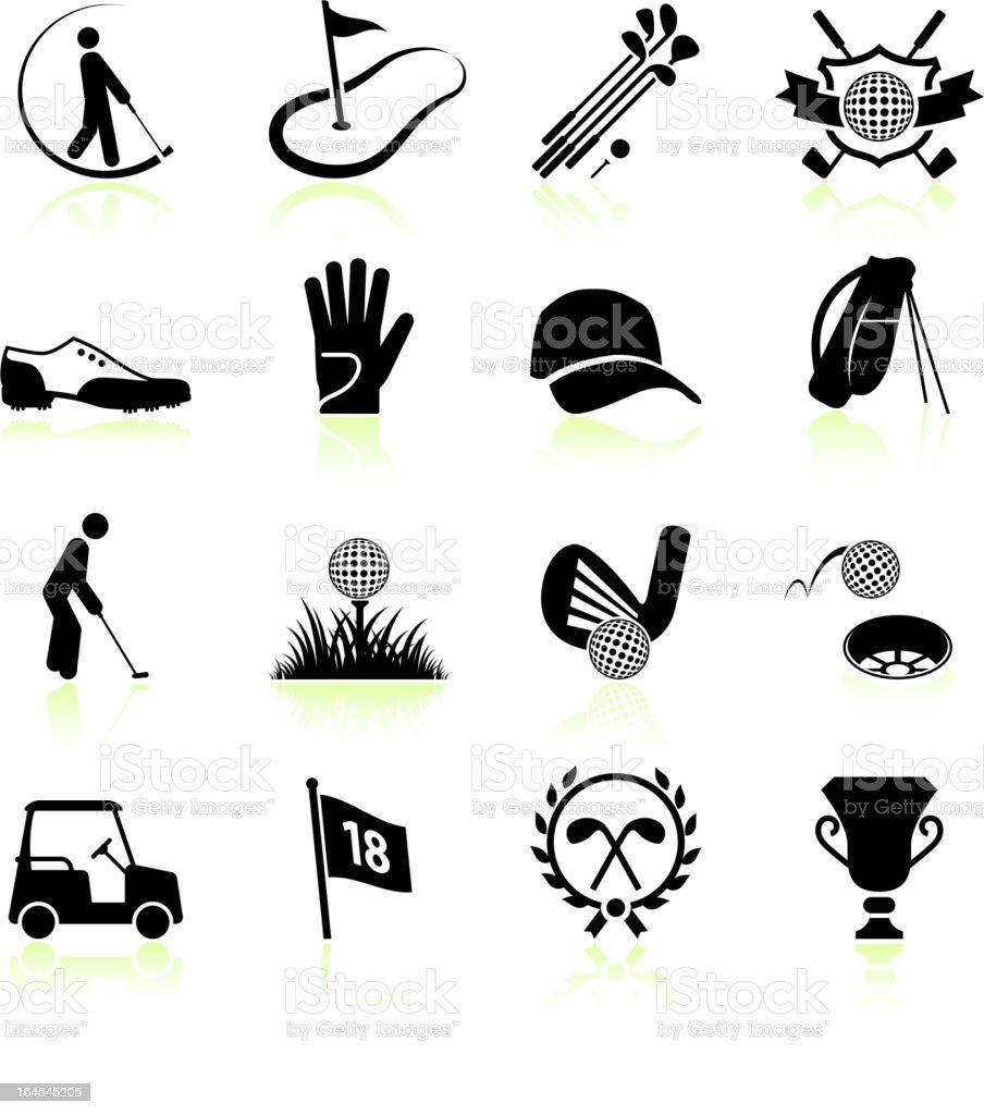 Golf Black White Royalty Free Vector Icon Set Stock