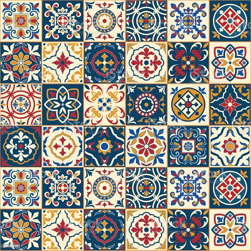 Gorgeous Seamless Pattern Moroccan Portuguese Tiles