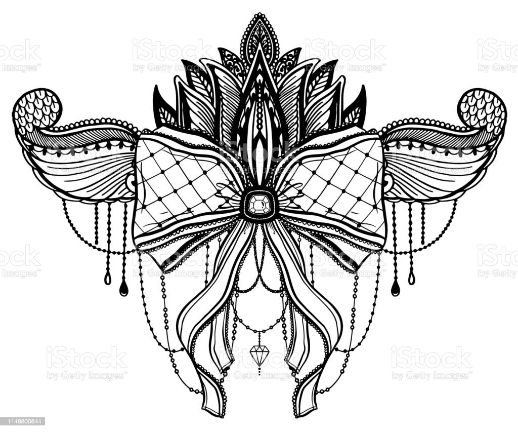 Gothic Bow And Lotus Flower Tattoo Motif Black Color