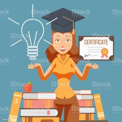 Graduate Woman Cartoon Character Vector Illustration College Student Girl With Education Certificate University Studying Graduation Diploma Opportunities For Future Career Stock Illustration Download Image Now iStock