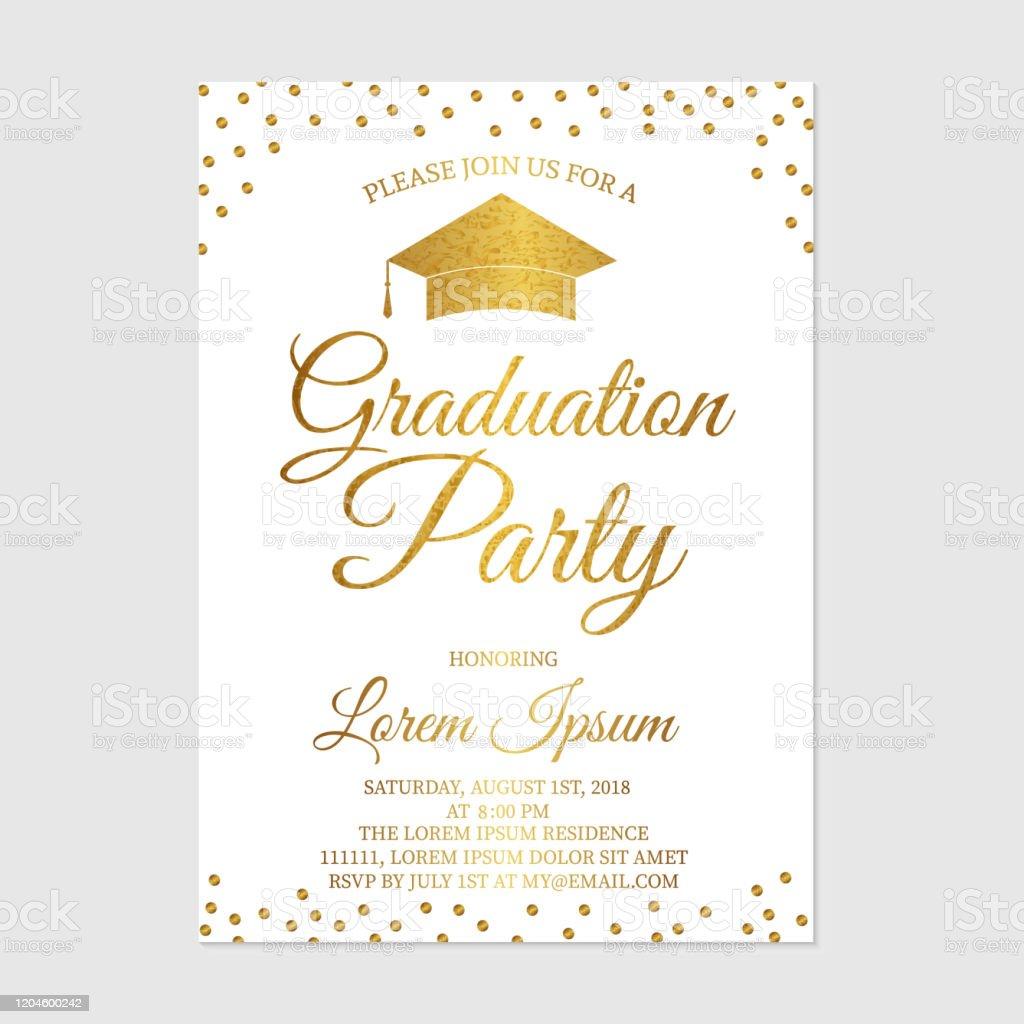 modele de carte dinvitation de partie de graduation gold paillettes polka points grad party invitent annonce de celebration de graduation illustration de vecteur vecteurs libres de droits et plus d images vectorielles de