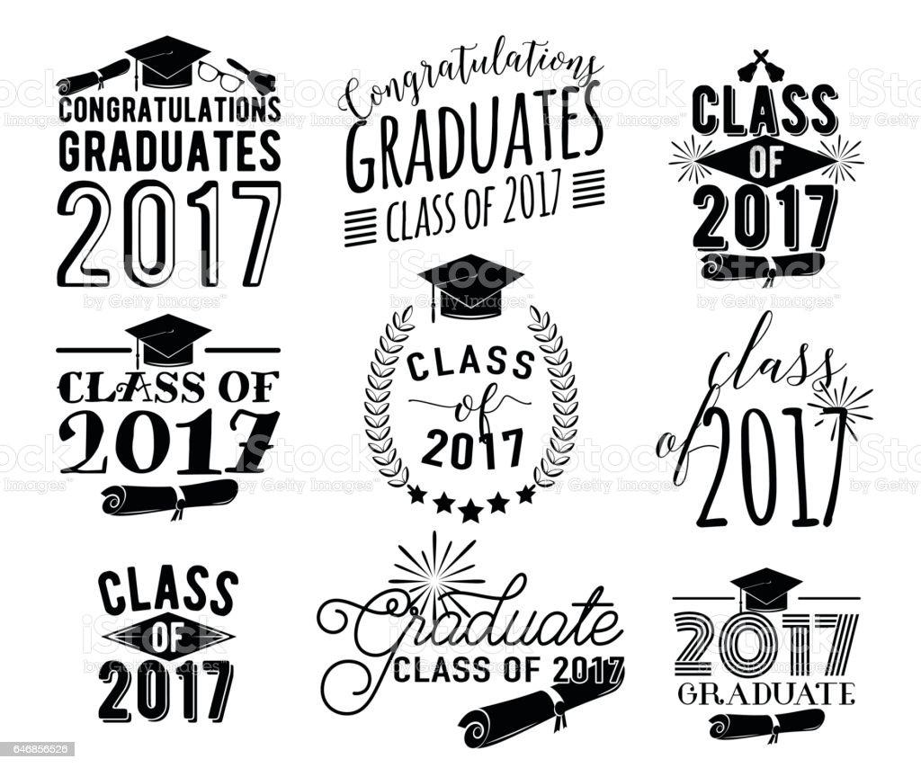 Graduation Wishes Overlays Labels Set Monochrome Graduate
