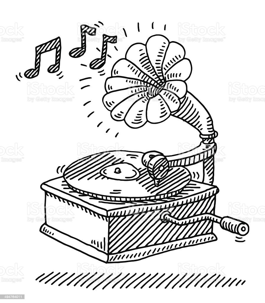Gramophone Vintage Music Drawing Stock Vector Art & More