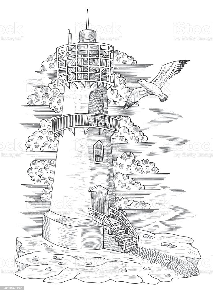 Graphic Drawing Of Vintage Light House Stock Vector Art