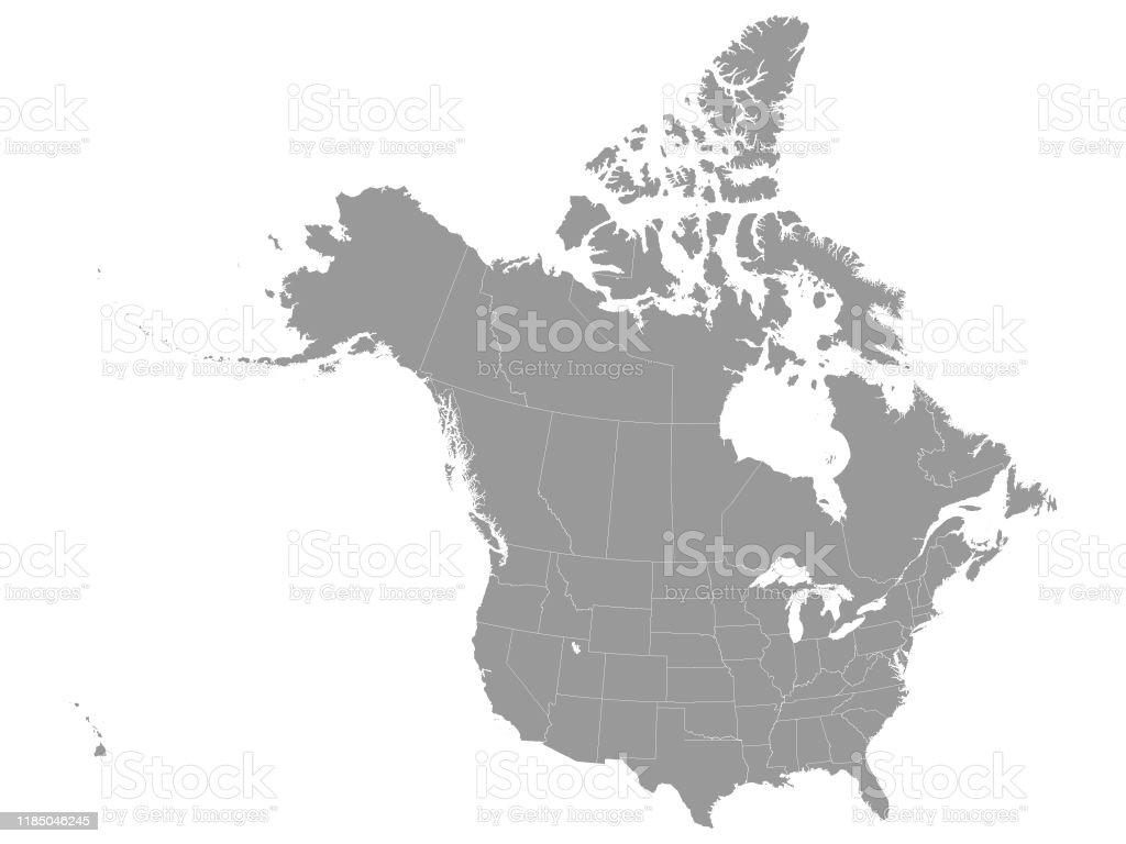 To pan the map click on the respective arrow on the pan button or click on the map and move your mouse/pointer to drag the map around (pan). Gray Federal Map Of Usa And Canada Stock Illustration Download Image Now Istock