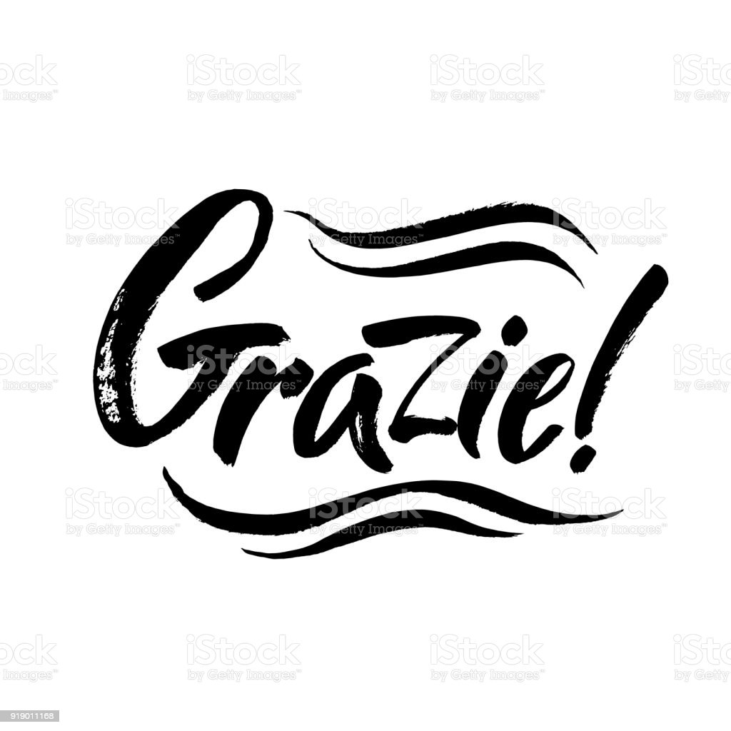 Grazie Thank You In Italian Calligraphy Inscription Black