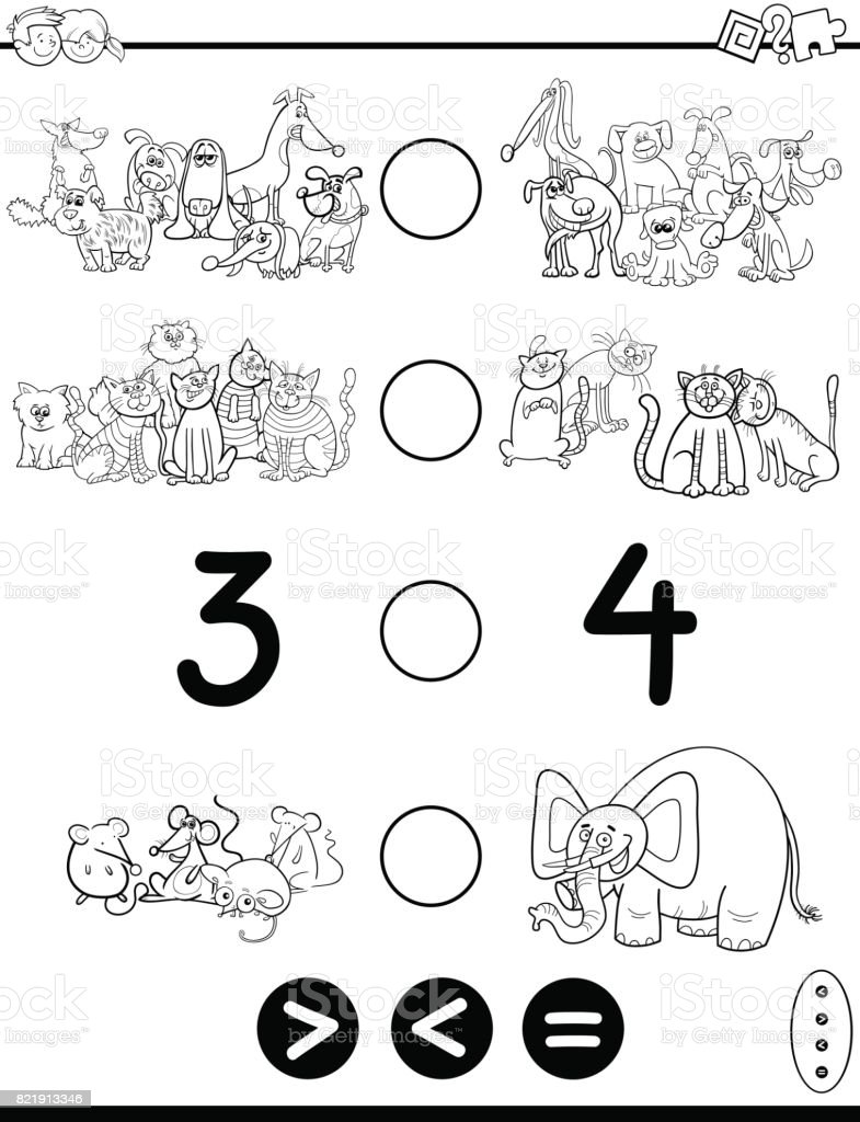 Greater Less Or Equal Cartoon Coloring Page Stock Vector