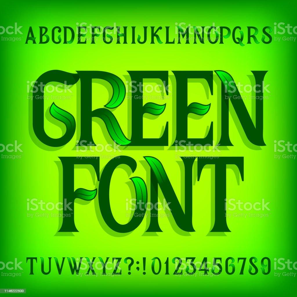 green alphabet font ornate