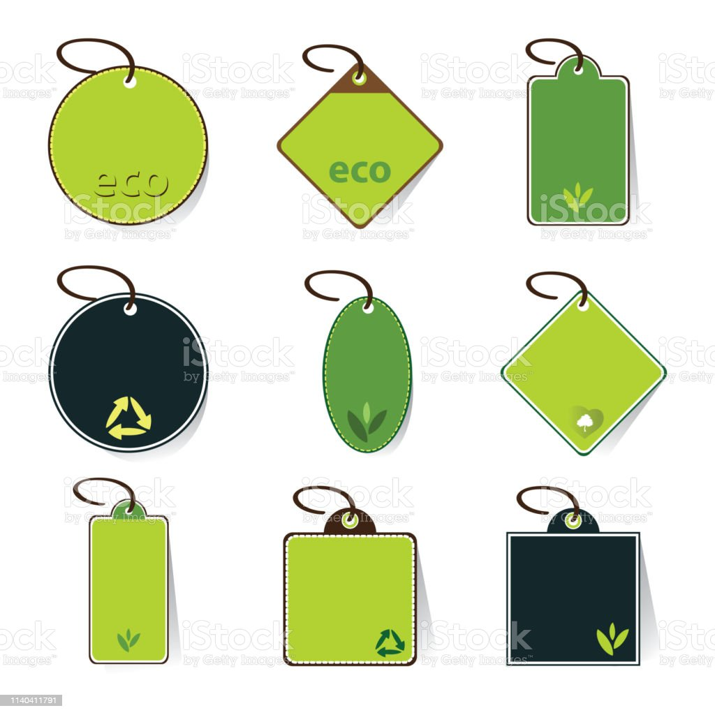 hight resolution of green eco price tags clip art illustration