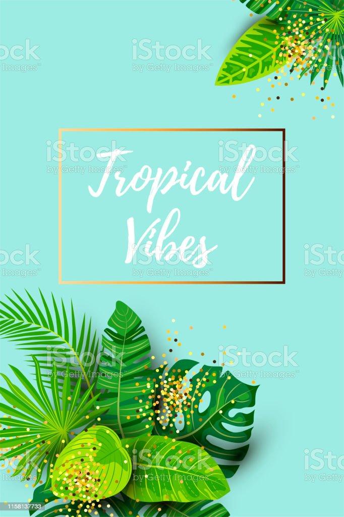 Summer Tropical Background : summer, tropical, background, Green, Summer, Tropical, Background, Exotic, Leaves, Golden, Frame, Stock, Illustration, Download, Image, IStock