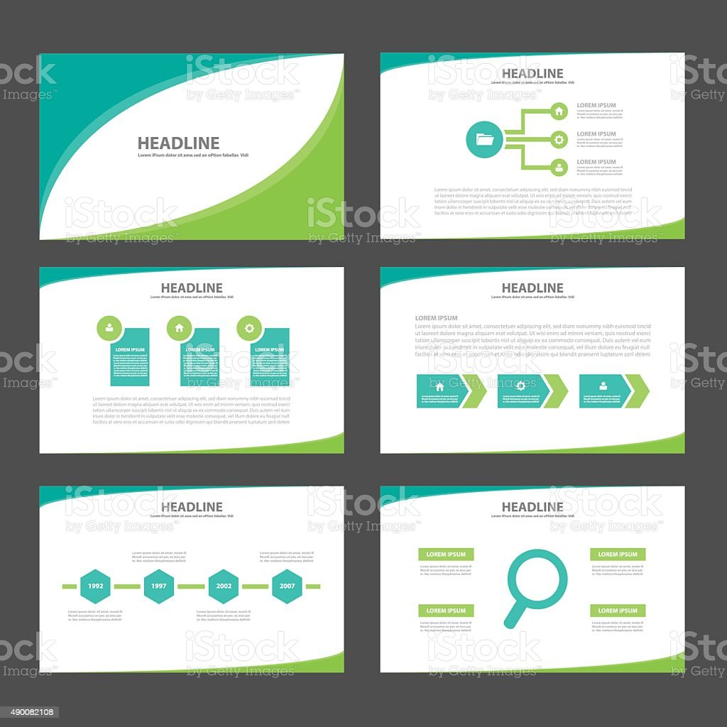 Green Two Tone Presentation Template Infographic Brochure Flyer Set  Royalty-Free Green Two Tone Presentation