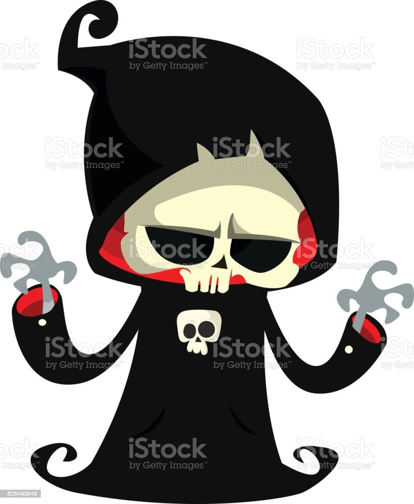 hight resolution of grim reaper cartoon character isolated on a white background cute death character in black hood