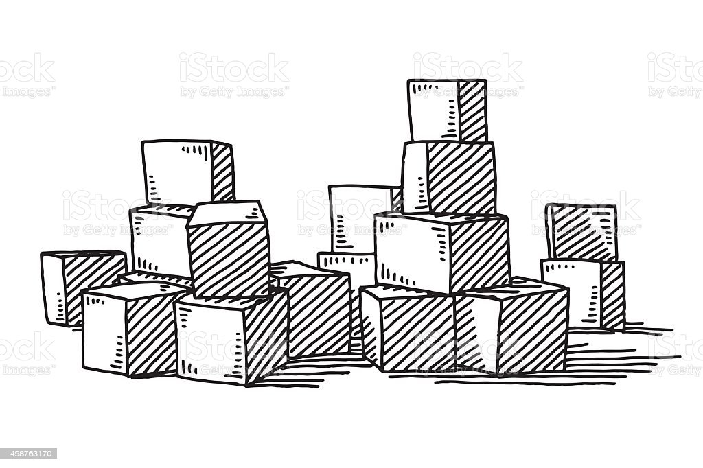 Group Of Building Blocks Drawing Stock Illustration
