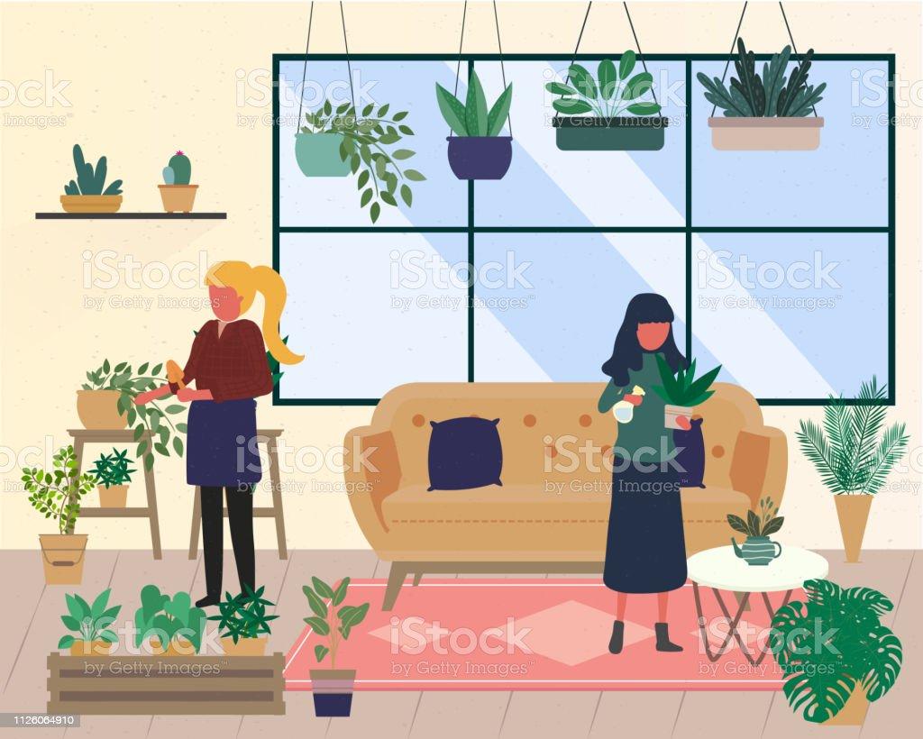 https www istockphoto com fr vectoriel groupe de personnes ou damis passer du temps dans la serre ou jardin avec les gm1126064910 296272686