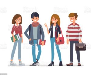 students vector illustrations clip friends illustration teenage teen young adult talking graphics background vectors going he working happy