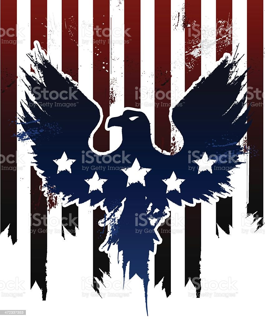 hight resolution of grunge american eagle in american flag design vector art illustration