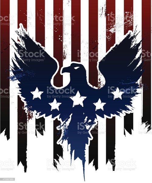small resolution of grunge american eagle in american flag design vector art illustration