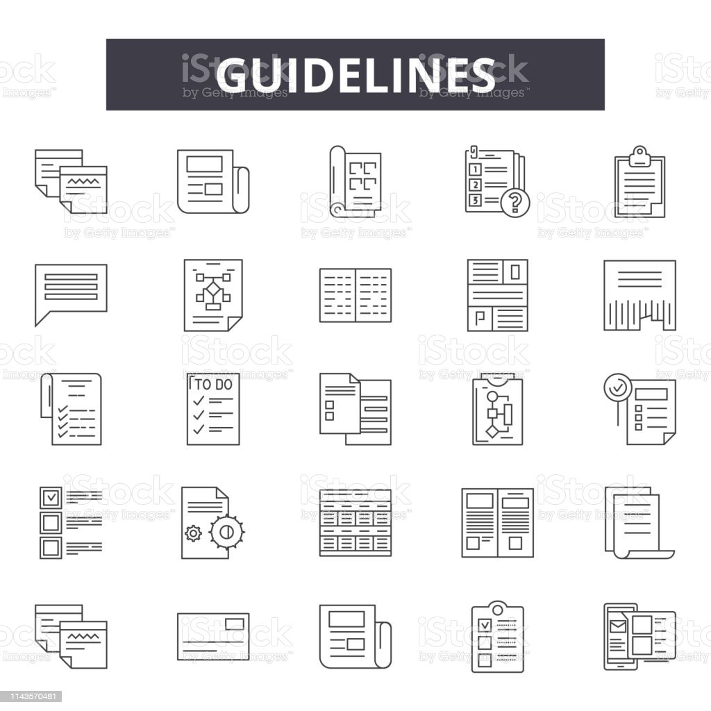 Guidelines Line Icons Signs Set Vector Guidelines Outline