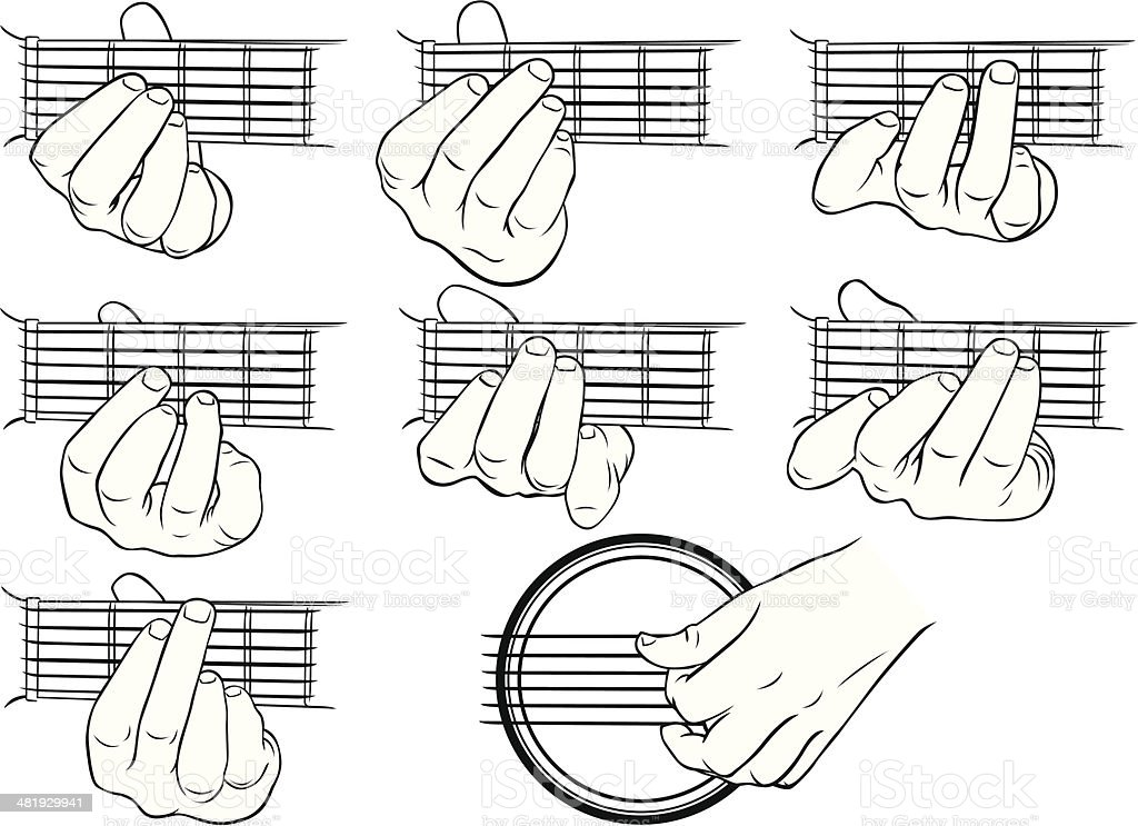 Guitar Chords Ag And A Strumming Hand Stock Illustration