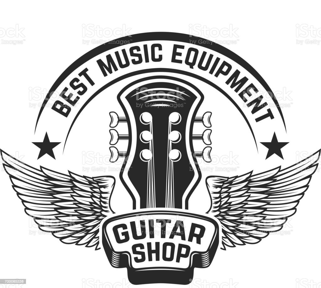 Guitar Shop Label Template. Guitar Head With Wings. Design Elements For  Poster, Label