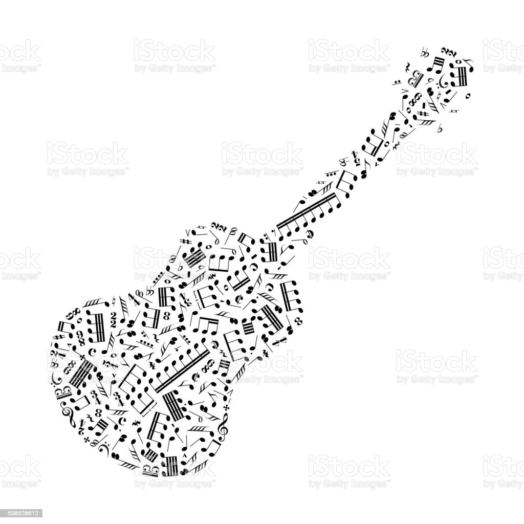 Guitar Silhouette Made Up From Music Notes On White Stock