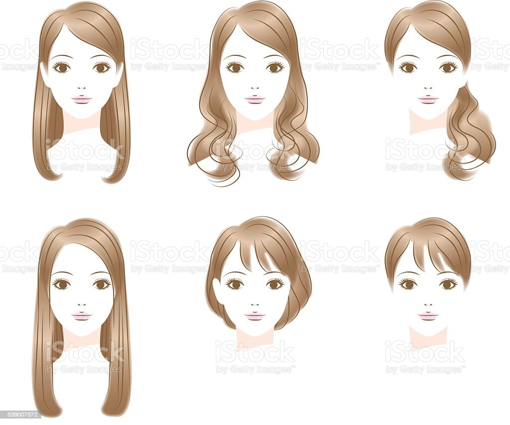 straight hair illustrations