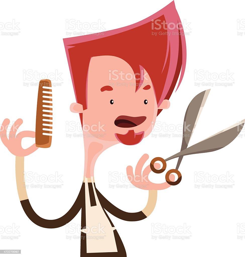 hair stylist holding scissors vector