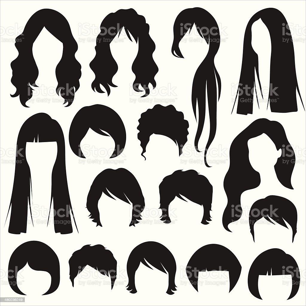 woman hair illustrations