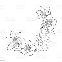 Half Frame Of Spring Flowers Decoration Element Sketch ...