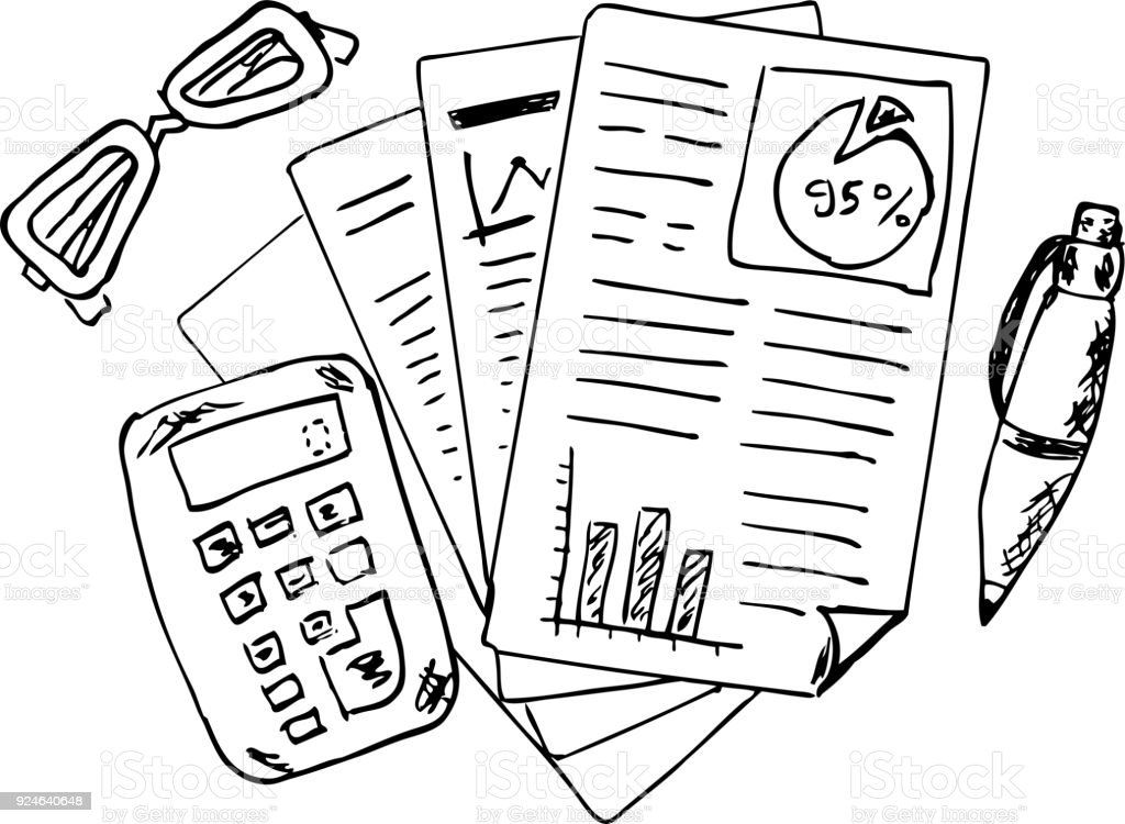 Hand Draw Sketch Of Accounting And Finance Report Stock