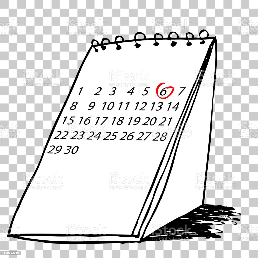 Hand Draw Sketch Of Desk Calendar At Transparent Effect