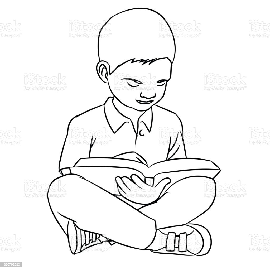 Hand Drawing A Boy Reading Vector Illustration Stock