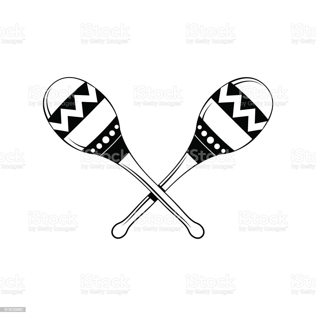 Hand Drawing Maracas Symbol Of Mexico Musical Instrument