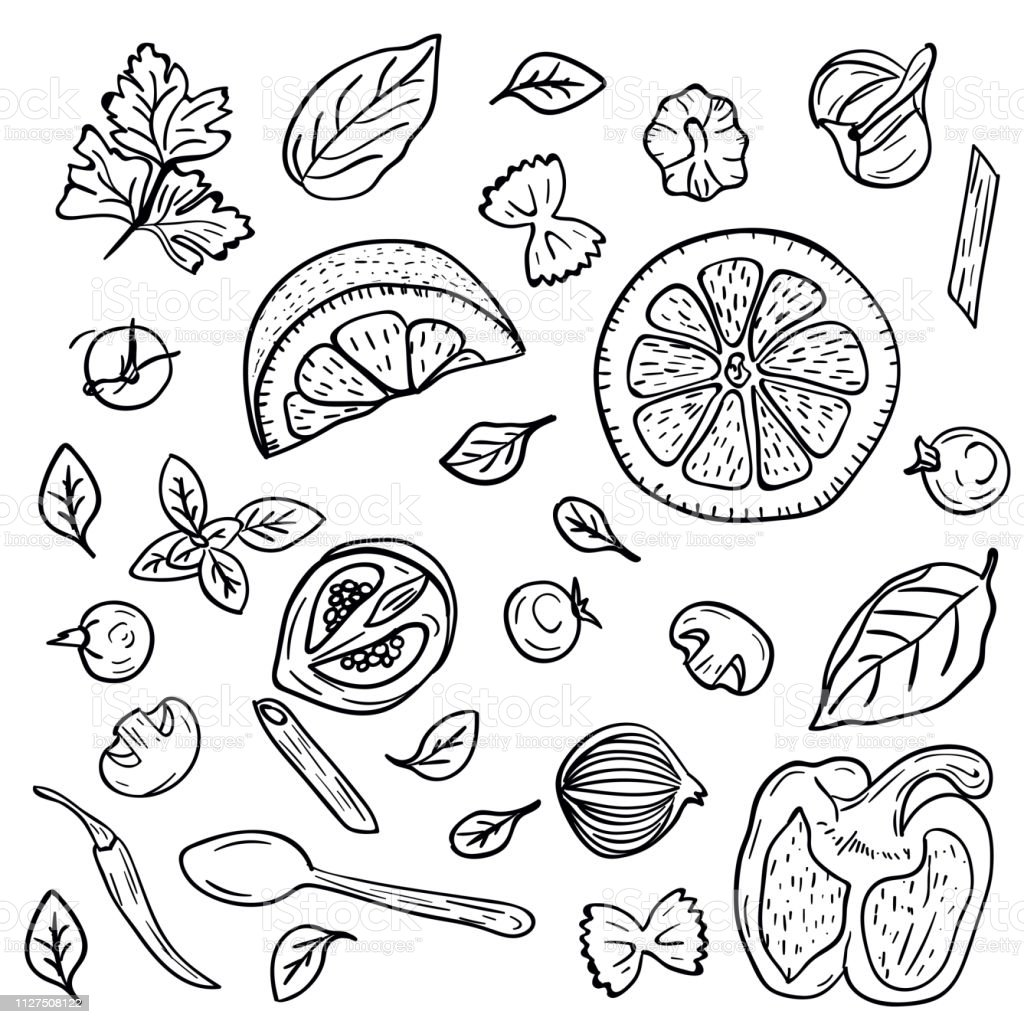 Hand Drawing Vegetables Herbs Spices For Pasta In Doodle