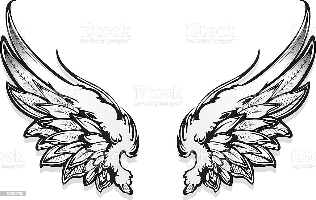 Hand Drawn Angel Wings stock vector art 493534786  iStock