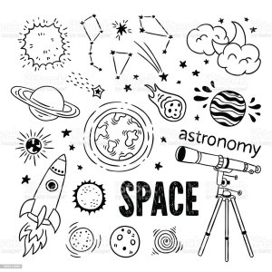 planets astronomy space stars drawn hand illustrations astronomer vector drawings telescope icons science ship clip moon constellation illustration sun drawing
