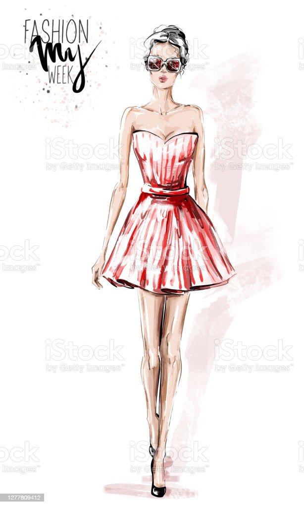 Short Dress Drawing : short, dress, drawing, Drawing, Women, Short, Dresses, Illustrations, IStock