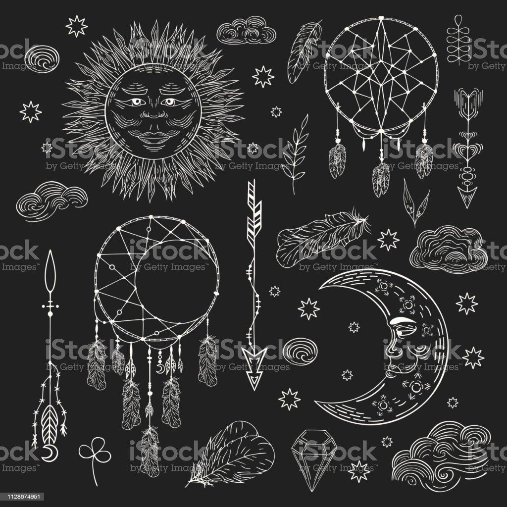 Ilustración De Mano Dibujada Boho Atrapasueños Sol Celestial Luna