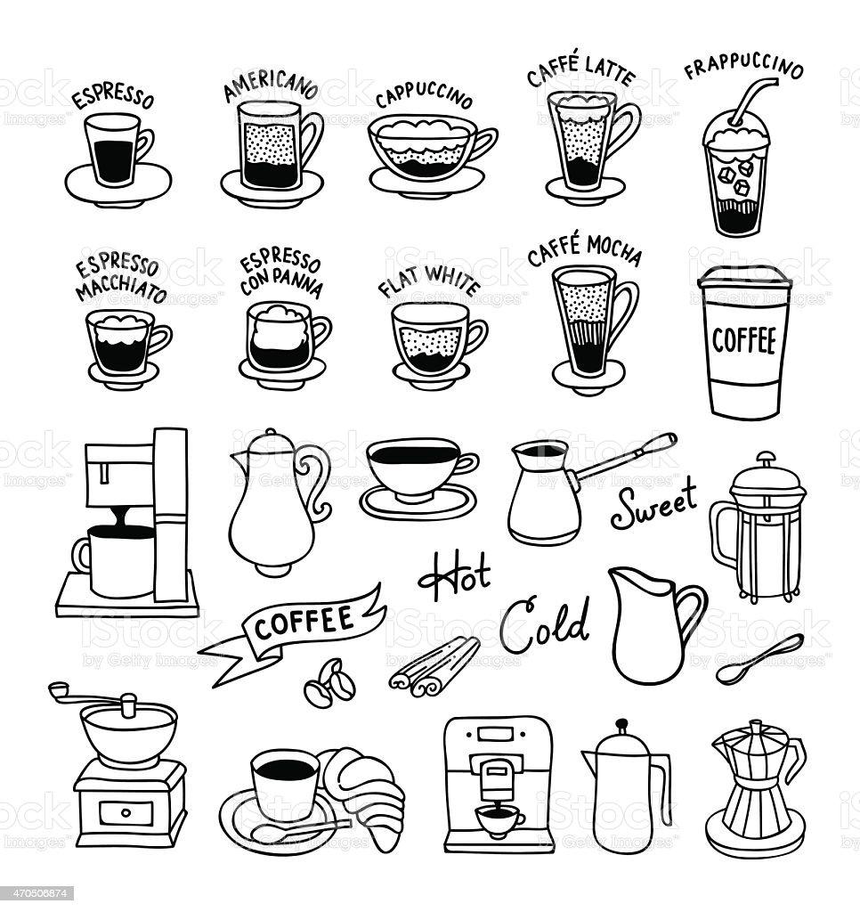 Hand Drawn Coffee Icons Cups Coffee Machine Coffee Mill