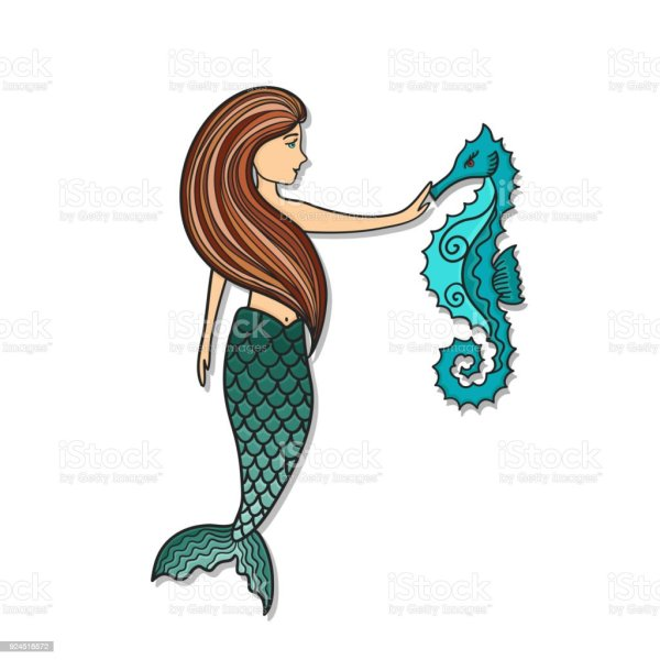 Hand Drawn Cute Little Mermaid With Sea Horse Stock Vector