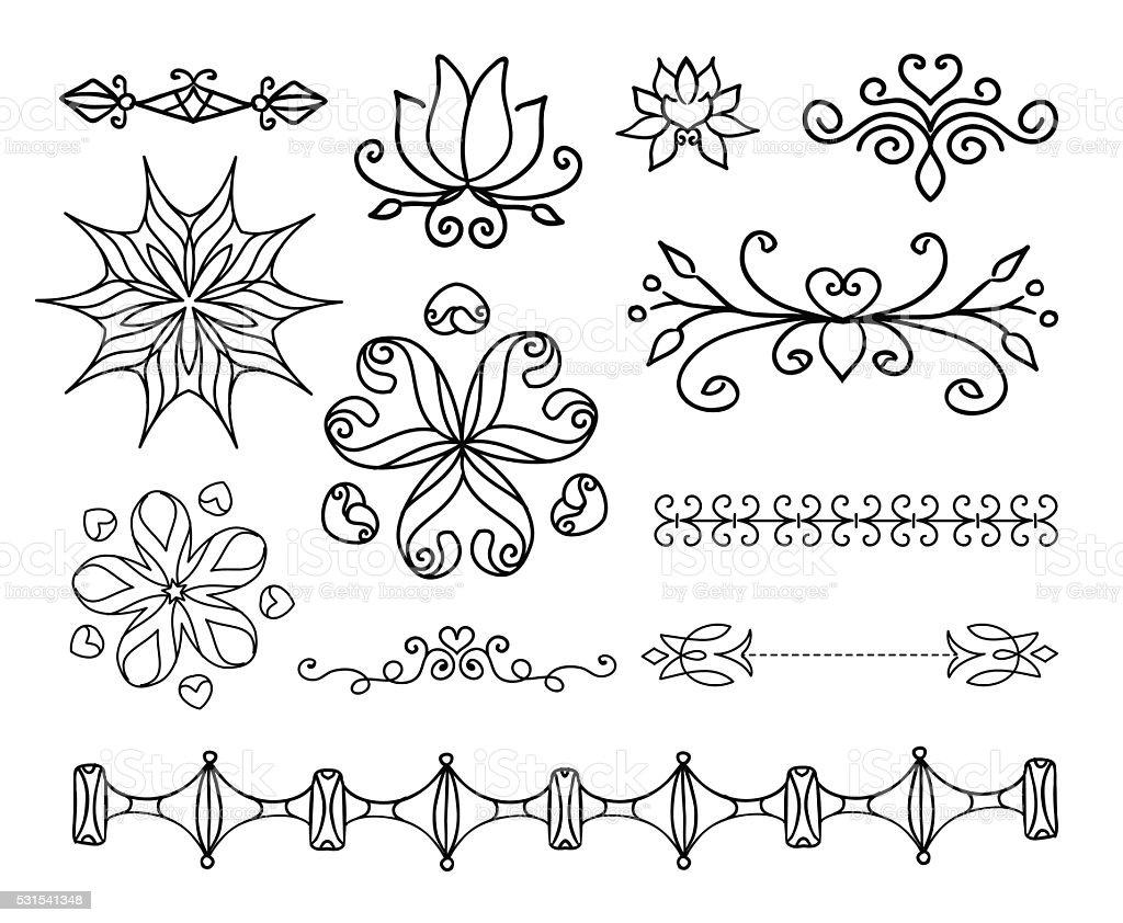 Desenhado À Mão Elementos De Decoração Molduras Vetor De