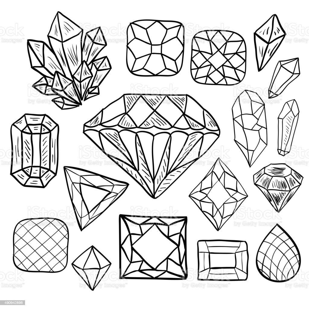 Hand Drawn Doodle Vector Jewelry Set Stock Vector Art