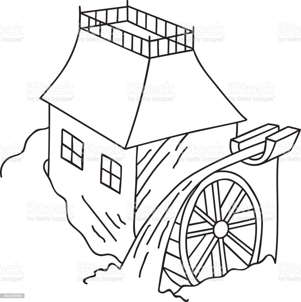 Hand Drawn Doodle Water Mill Sketch Vintage Style Rural